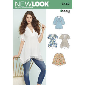 New Look Pattern 6452 Misses' Tops with Bodice and Hemline Variations