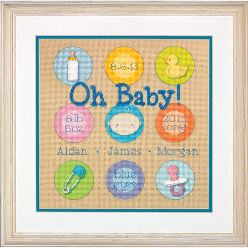Baby Dots Birth Record Counted Cross Stitch Kit_70-73811