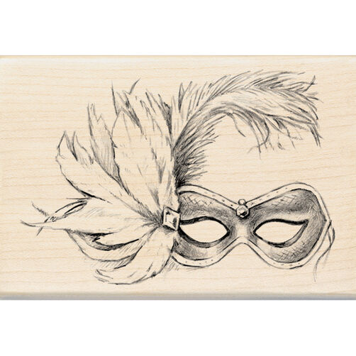 Feathered Mask Wood Stamp_60-00872