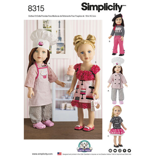 Simplicity Pattern 8315 18 Quot Chef Doll Clothes