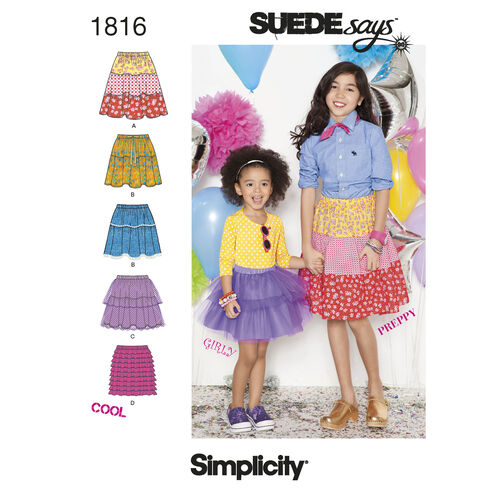 Simplicity Pattern 1816 Child's & Girl's Skirts SUEDEsays Collection
