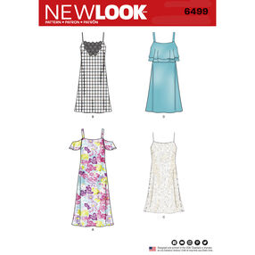 New Look Pattern 6499 Misses' Spaghetti Strap Dresses with Length Variations