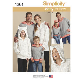 Simplicity Pattern 1261 Child's, Teen's and Adults' Hoodie