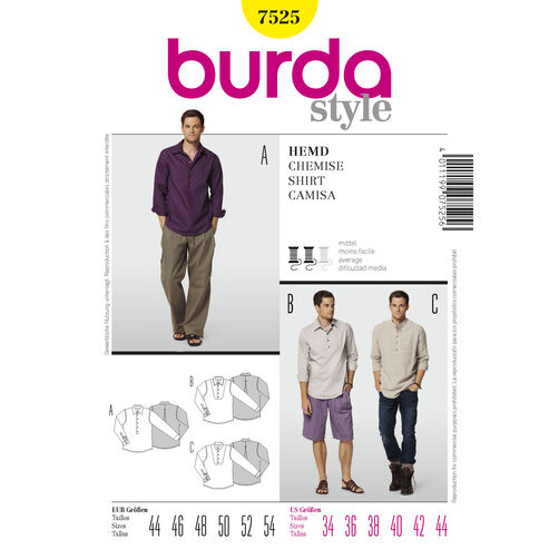 Burda Style Pattern 7525 Shirt