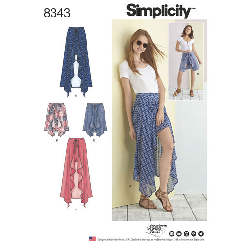 Simplicity Pattern 8343 Misses' Wrap Front Skirt and Shorts