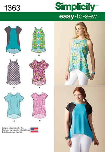 Misses' Loose-Fitting Top With or Without Sleeves