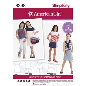 Simplicity Pattern 8398 Child's Pants or Shorts, Skirt, Tote Bag and Knit Dress and Tops