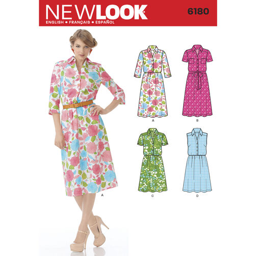 New Look Pattern 6180 Misses' Shirt Dress and Belt