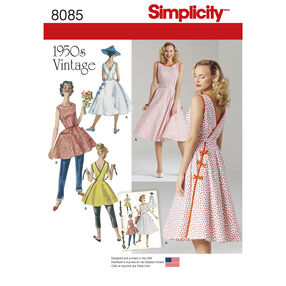 Simplicity Pattern 8085 Misses' Vintage 1950s Wrap Dress in Two Lengths