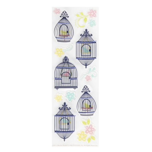 Modern Damask Bird Cages and Flowers Stickers _41-00250