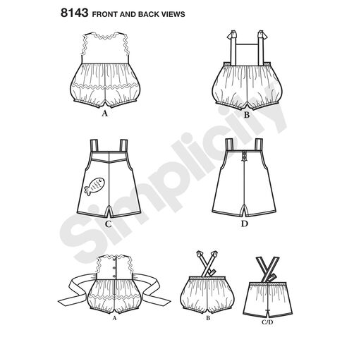 Simplicity Pattern 8143 Vintage Set of One Piece Play