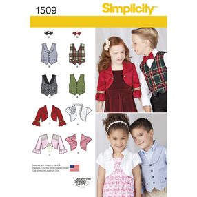 Simplicity Pattern 1509 Child's Vest, Bolero and Bow Tie