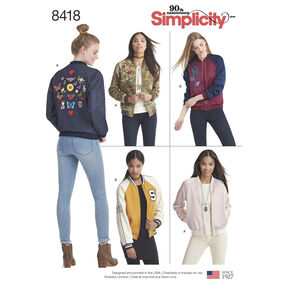 Pattern 8418 Misses' Lined Bomber Jacket with Fabric and Trim Variations