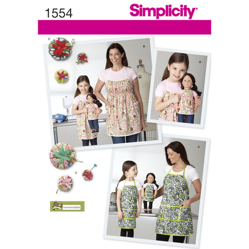 Simplicity Pattern 1554 Child's, Misses' and 18 inch Doll Aprons