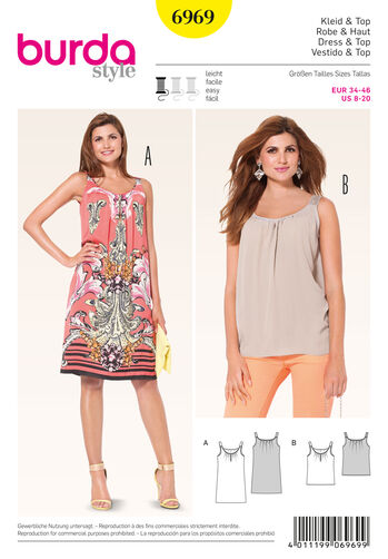Burda Style Pattern 6969 Tops, Shirts, Blouses