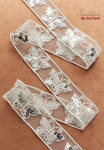 "1-3/8"" Sequin Butterfly Trim"