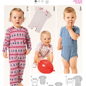 Burda Style Pattern 9384 Babie's Bodysuit and Rompers