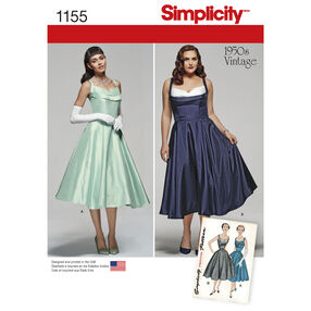 Simplicity Pattern 1155 Miss and Miss Plus Vintage 1950s Dress