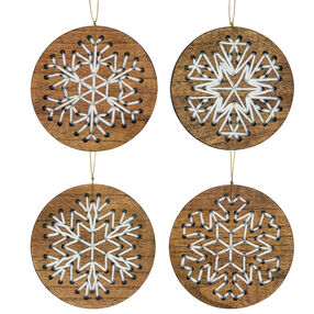 Snowflake Wood Ornament Set, Embroidery_72-08279