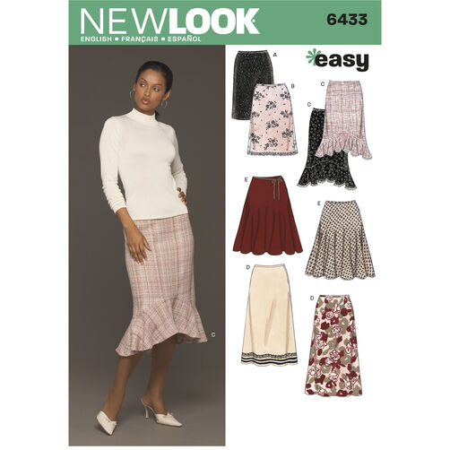 New Look Pattern 6433 Misses Skirts