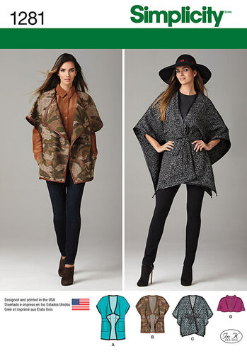 Misses' Jackets in Two Lengths, Belted Cape & Capelet