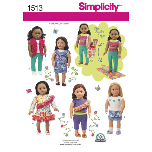 Simplicity Pattern 1513 18 inch Doll Clothes and Bag