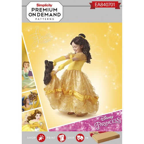 Simplicity Pattern EA840701 Child and 18 Inch Doll Disney Classic Belle Costume