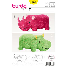 Burda Style Pattern B6560 Stuffed Hippo or Rhino
