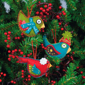 Whimsical Birds Ornaments, Felt Applique_72-08170