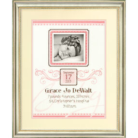 Elegant Flourish Birth Record Counted Cross Stitch Kit_70-73807