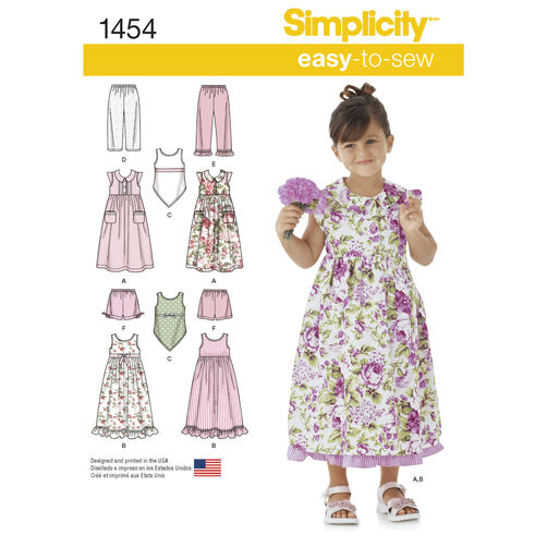 Simplicity Pattern 1454 Child's Dress, Slip Dress or Top and Pants or Shorts