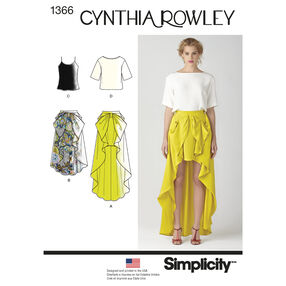 Simplicity Pattern 1366 Misses' Skirt & Top Cynthia Rowley Collection