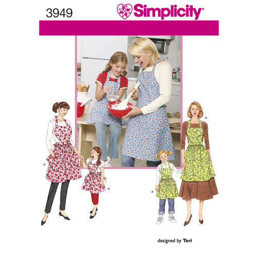 Simplicity Pattern 3949 Child's & Misses' Aprons