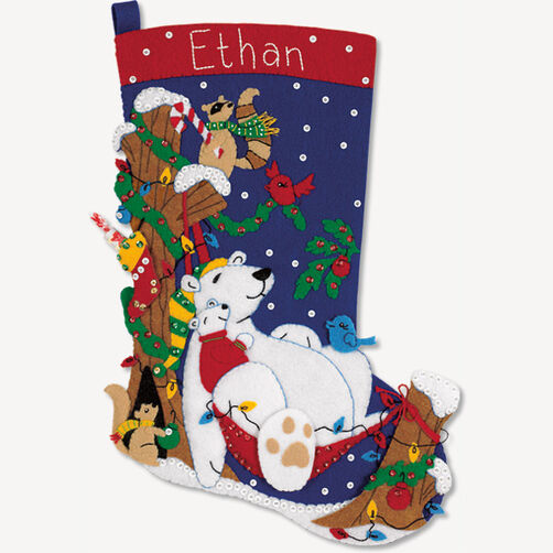 Winter Snooze Stocking, Felt Applique_08158