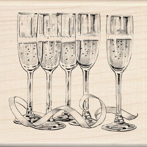 Champagne Glasses Wood Stamp_60-00874
