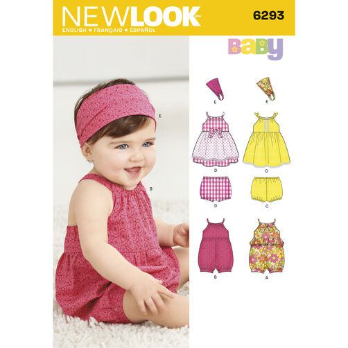 New Look Pattern 6293 Babies' Romper, Dress, Panties and Headband