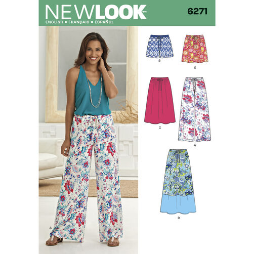 New Look Pattern 6271 Misses' Skirt in Three Lengths and Pants or Shorts