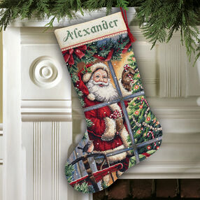Candy Cane Santa Stocking, Counted Cross Stitch_08778