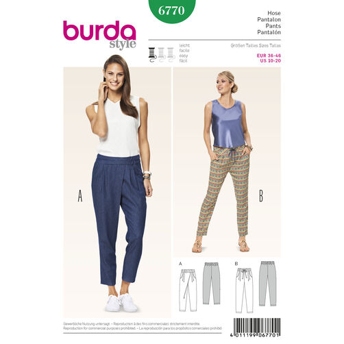 Burda Style Pattern 6770 Pants, Jumpsuits