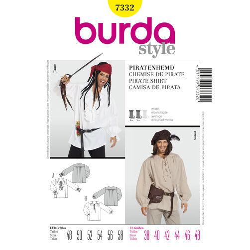 Burda Style Pattern 7332 Pirate Shirt