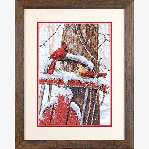 Cardinals on Sled, Counted Cross Stitch_70-08837