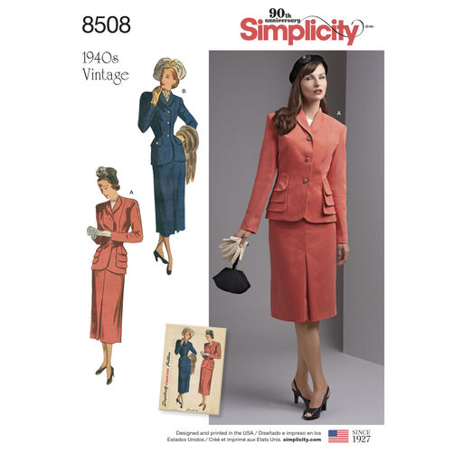 Simplicity Pattern 8508 Misses'/Women's Vintage 2- Piece Suit with Lined Jacket