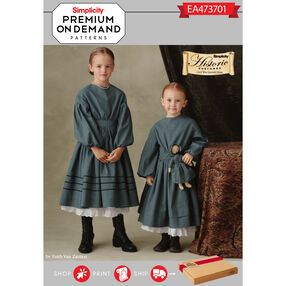 Simplicity Pattern EA473701 Premium Print on Demand Historic Costume for Child and Doll