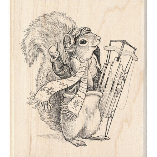 Squirrel Sledder Wood Stamp_60-00928