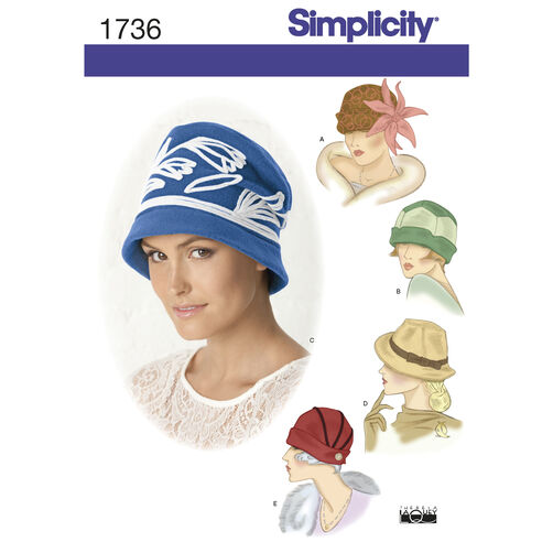Simplicity Pattern 1736 Misses' Hats In Three Sizes