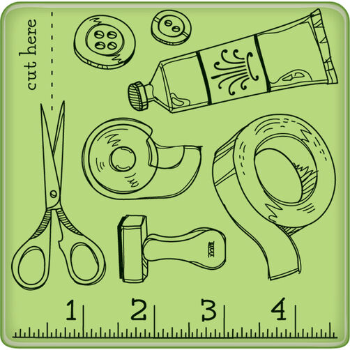 Craft Room Pattern Mini Cling Stamp_60-60224