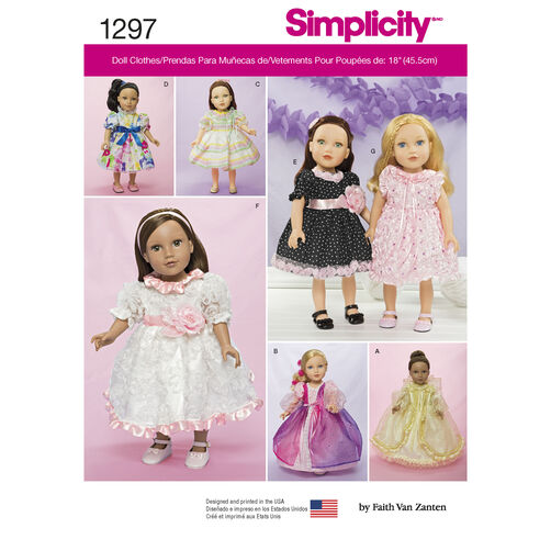 Simplicity Pattern 1297 Dresses for 18 inch Doll