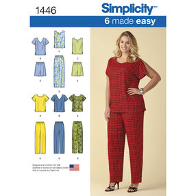 Simplicity Pattern 1446 Women's Six Made Easy Pull on Tops, Pants or Shorts