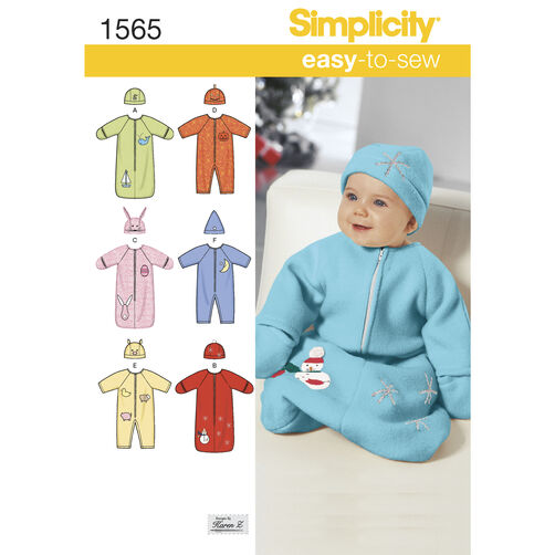 Simplicity Pattern 1565 Babies' Bunting, Romper and Hats