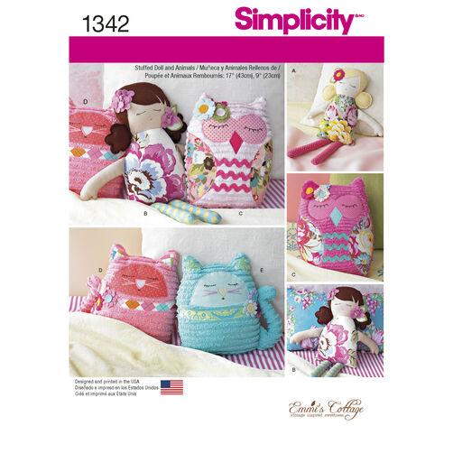 """Simplicity Pattern 1342 17"""" Stuffed Dolls and 9"""" Stuffed Animals"""